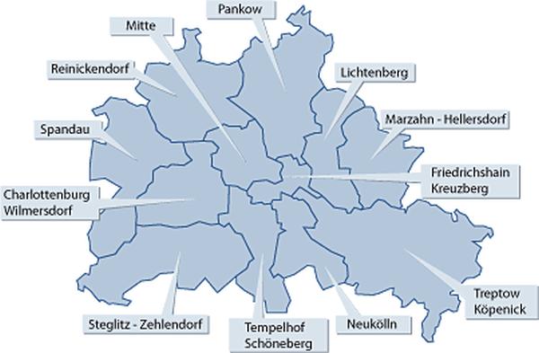 Berlinkarte mit Links zu den Bezirken